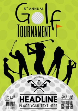 golft tournament poster green design players silhouette