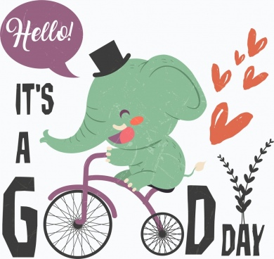 good day banner cute elephant riding bicycle icon