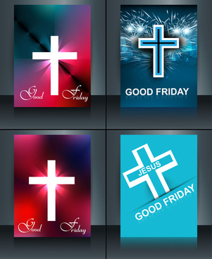 good friday brochure template collection card for jesus cross colorful vector