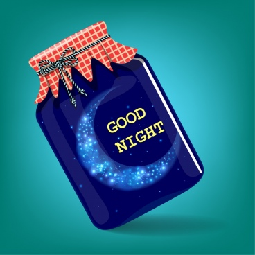 good night background bottle containing sparkling moon icon