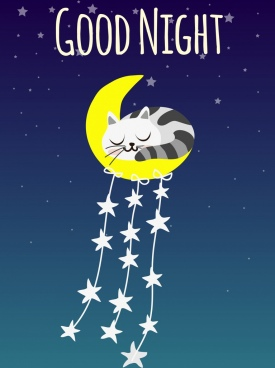 good night background sleeping cat moon star icons