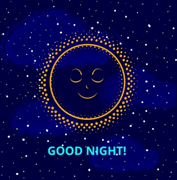 good night banner sleeping sun icon starry sky