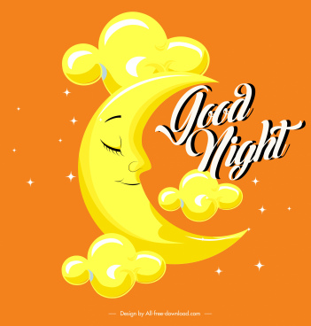 good night banner stylized crescent moon decor
