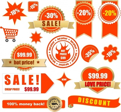 sales tags templates red seals circle ribbon shapes