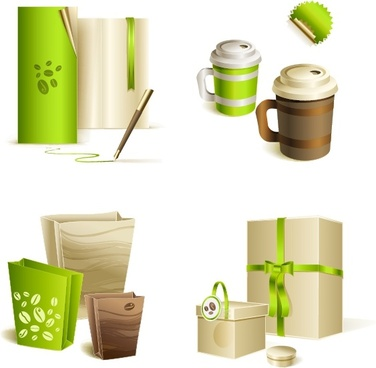 bag cup gift cover templates 3d green modern