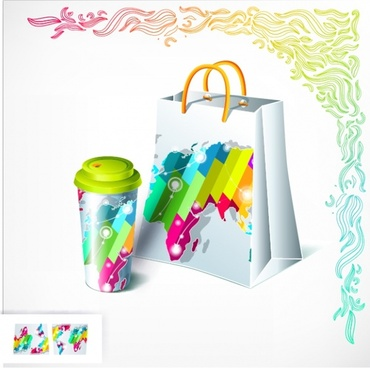 cup bag cover templates modern shiny colorful decor