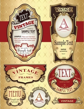 label template colorful elegant vintage decor