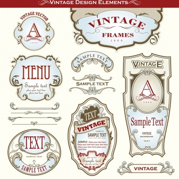 menu design elements classical symmetric shapes sketch