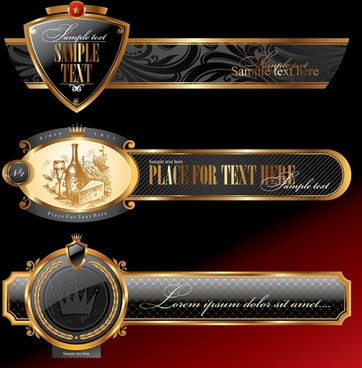 labels templates elegant black golden decor horizontal design