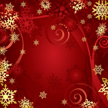 christmas background snowflakes decor red golden design