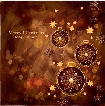 gorgeous christmas background with balls vector brown