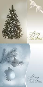 christmas backgrounds elegant fir tree bow icons decor