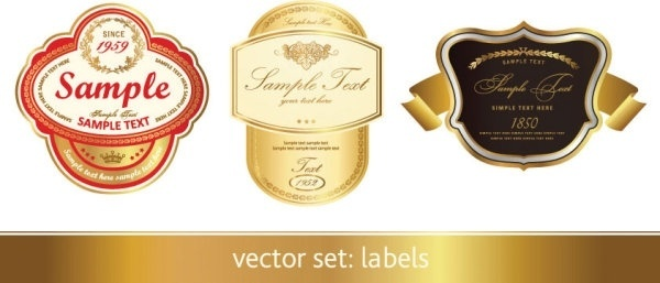 gorgeous classic bottle label 01 vector