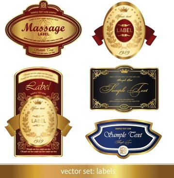 gorgeous classic bottle label 02 vector