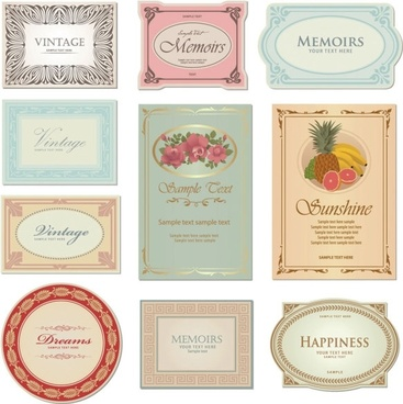 gorgeous classic bottle label 04 vector