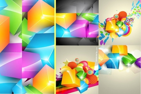 gorgeous color cube background vector