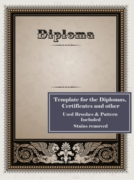 diploma border template elegant european decor