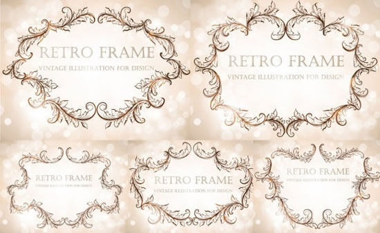 frames templates retro elegant curved leaf sketch