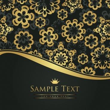 decorative background golden petals elegant curves decor