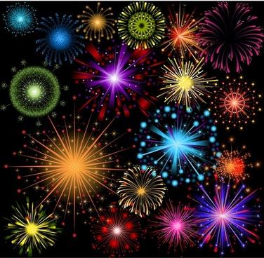 gorgeous fireworks festival fireworks vector