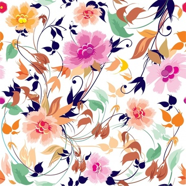 flowers pattern colorful dynamic bright classic design