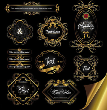 gorgeous gold color vector labels