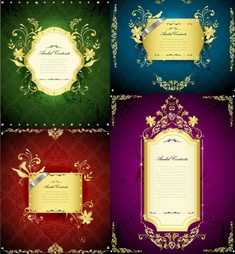gorgeous gold lace border vector 3