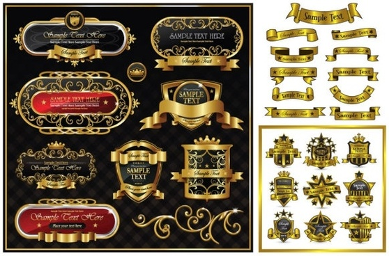 gorgeous gold ribbon pattern vector label