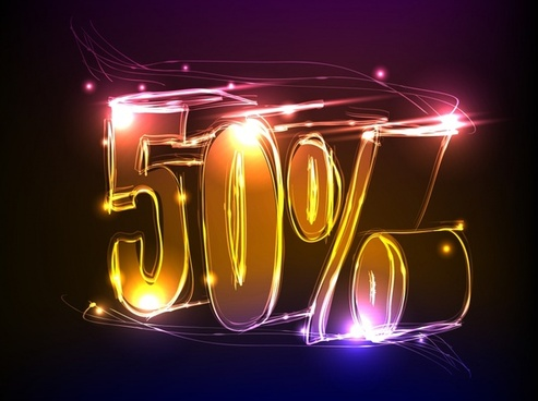 sale discount template 3d sparkling neon light numbers