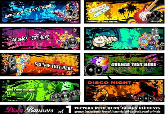 music banner templates colorful dynamic decor horizontal design