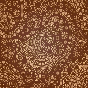 traditional abstract pattern flat brown circles curves sketch