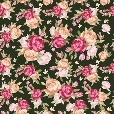 flowers pattern template elegant colorful classical luxuriant design