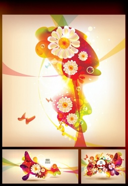decorative background floral butterflies sketch modern colorful gorgeous