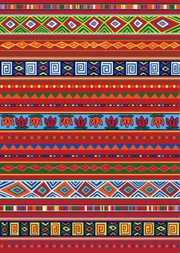 ethnic pattern template colorful flat horizontal symmetric shapes