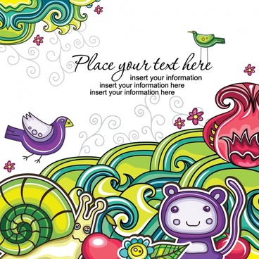 decorative background template colorful flat handdrawn elements sketch