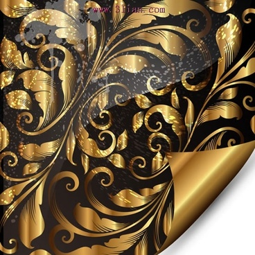 decorative background template luxury golden black floras sketch