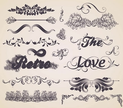 card decorative elements templates elegant retro symmetric shapes