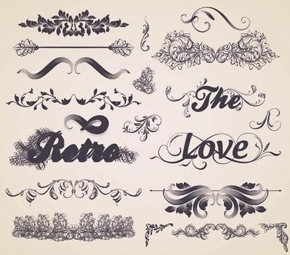 card decorative elements templates elegant retro symmetric shapes