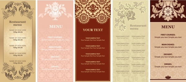 menu templates elegant european decor vertical design