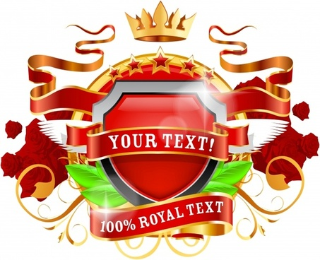premier royal label template shiny colorful symmetric decor