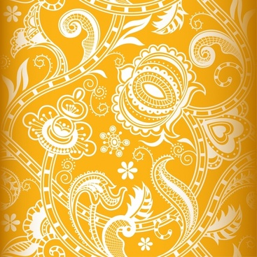 decorative pattern traditional classic floral curves sketch