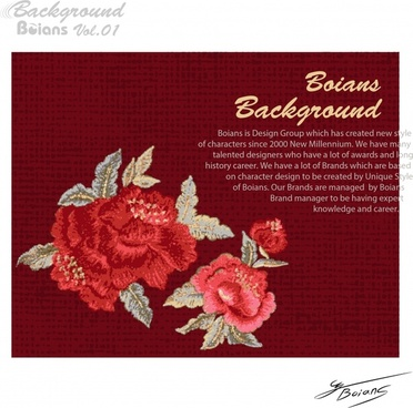 flower background dark red retro design