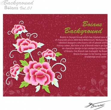 card template pink floral decor classical design