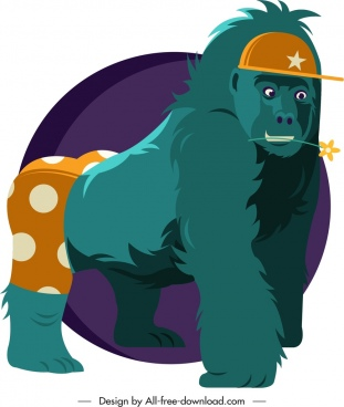 gorilla animal icon funny stylized sketch