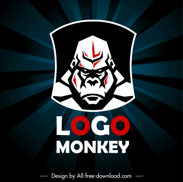 gorilla logo template dark flat sketch