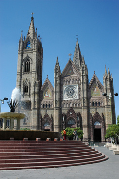 gothic cathedral with pineapple fountain zona centro guadalajara jalisco mexico