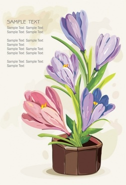 gouache flowers 02 vector