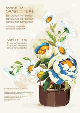 gouache flowers 03 vector