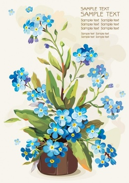 gouache flowers 05 vector