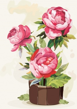 peony flower painting colored retro gouache sketch